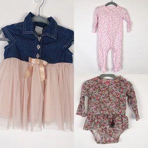 Baby bundle! 6/9 m girl-dress, sleeper, bodysuit